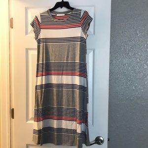 T-shirt dress red white blue size medium